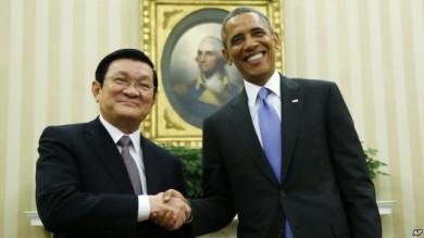 El presidente de Vietnam, Truong Tan Sang se reunió esta mañana con el mandatario estadounidense, Barack Obama, en la Casa Blanca.