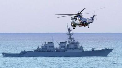 Buque de guerra estadounidense en el Mediterráneo.