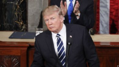 President Donald Trump reaches for a glass of water during his address to a joint session of Congress on Capitol Hill in Washington, Tuesday, Feb. 28, 2017. (AP Photo/Pablo Martinez Monsivais)